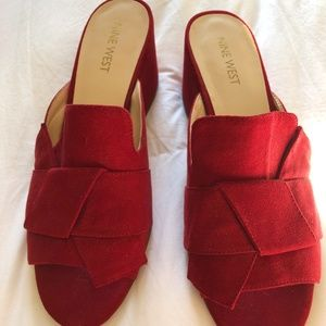 NINE WEST Red Slip-on Block Heel Sandals